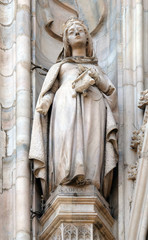 Saint Adelaide of Italy, statue on the Milan Cathedral, Duomo di Santa Maria Nascente, Milan, Lombardy, Italy