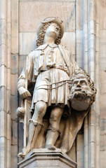 David with the head of Goliath, statue on the Milan Cathedral, Duomo di Santa Maria Nascente, Milan, Lombardy, Italy