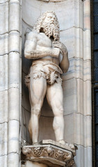 Statue of Saint on the facade of the Milan Cathedral, Duomo di Santa Maria Nascente, Milan, Lombardy, Italy
