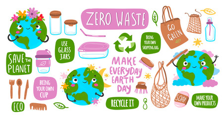 Go green! Save the planet! Zero waste. Earth Day. Hand drawn cute planet Earth and various eco objects. Hand drawn colored vector set. All elements are isolated