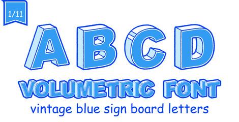 Volumetric Vintage Alphabet Font Vector Illustration. Set 1