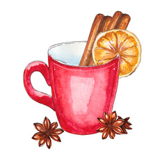 Watercolor cup with cinnamon
