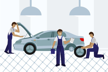 Workers in car service tire service and car repair. Flat. Vector.