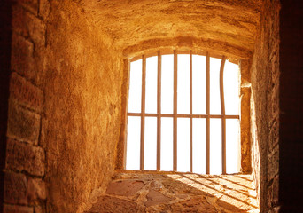 Prison window with bar inside Belfort citadel
