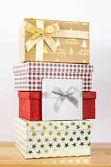 white background with batch of Christmas gift boxes