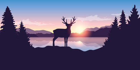 reindeer by the lake at sunrise wildlife nature landscape vector illustration EPS10 Wall mural