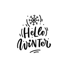 Winter hand drawn lettering phrase hello winter for print, card, poster. Modern seasonal calligraphy.