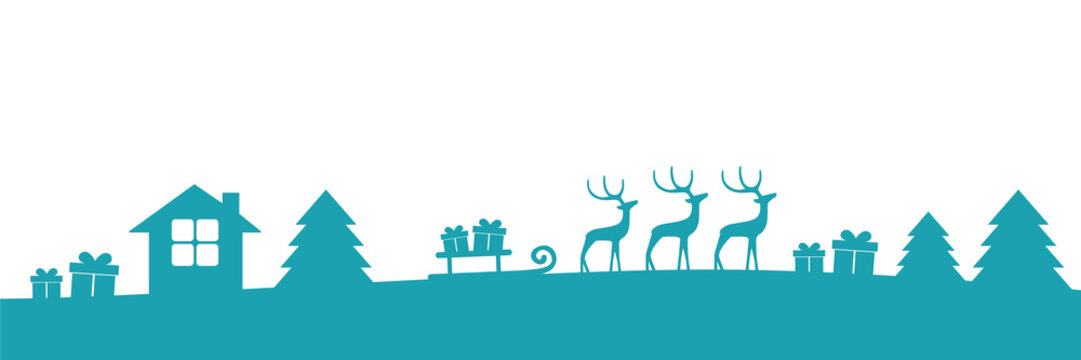 turquoise christmas winter border with reindeers gifts and firs vector illustration EPS10