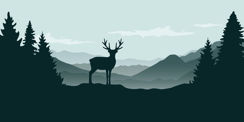 Foto op Aluminium Vogels in kooien wildlife reindeer mountain view in the fog and forest landscape vector illustration EPS10