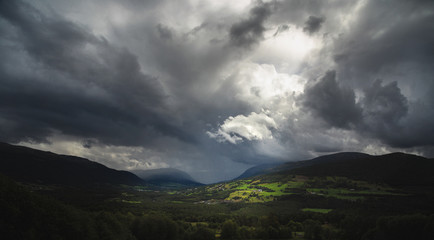 Heavy stormy sky over Dovre mountains, Norway.