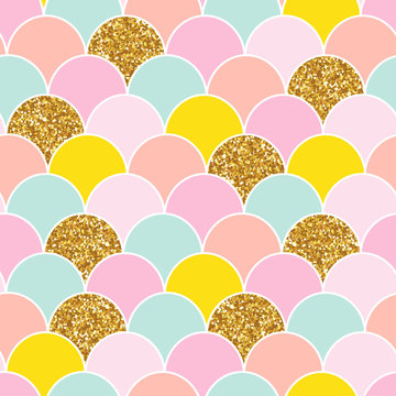 Mermaid tail seamless pattern with gold glitter elements. Cute kids print. Vector hand drawn illustration.