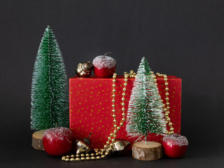 Seasonal holiday Christmas decoration red gift box