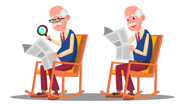 Visually Impaired Elderly Man Reading A Book Through A Magnifying Glass Vector. Isolated Cartoon Illustration