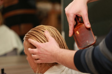 Comb Blond Woman Washing Hair
