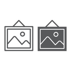 Picture line and glyph icon, home and frame, photo sign, vector graphics, a linear pattern on a white background.