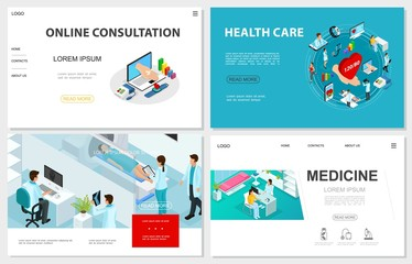 Isometric Healthcare Websites Set