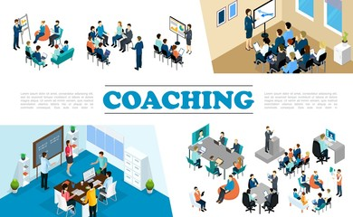 Isometric Staff Business Coaching Composition
