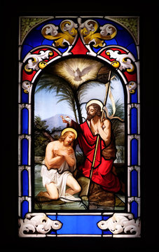 Baptism of the Lord, stained glass window in the Church of St. Ambrose and Theodulus, Stresa, Lago Maggiore, Piedmont, Italy