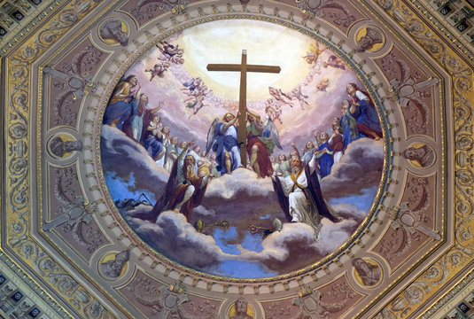 Fresco painting on the ceiling of the Church of St. Ambrose and Theodulus, Stresa, Lago Maggiore, Piedmont, Italy