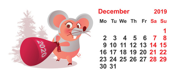 2019 year december calendar template. Pig mask mouse holds gift bag 2020 year