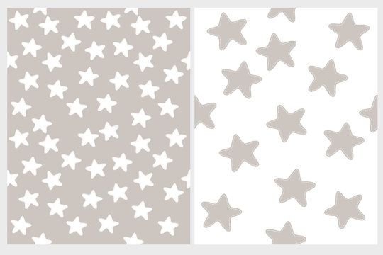 Cute Stars Vector Patterns. Irregular Hand Drawn Simple Graphic. White Simple Stars Isolated on a Beige. Infantile Style Design. White and Gray Color Starry Vector Print.