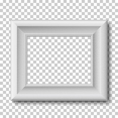 White wooden vintage frame isolated on transparent background. Vector frame template placed horizontally.