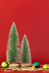 Christmas decoration glass balls with fir trees