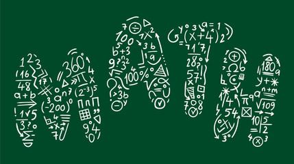 mathematical symbols and the word math concept illustration vector