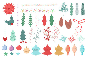 Christmas decorative elements. Holly berry leaves, poinsettia flower, snowflakes, ball, pine cone, bell, hearts. Vector flat hand drawn simple icons set isolated on white background.