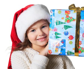 Child holding a gift.