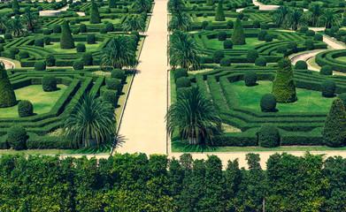 french style garden in Nong Nooch Tropical Botanical Garden (cross process)
