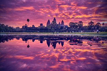 SIEM REAP, CAMBODIA - 13 December 2014:View of Angkor Wat complex at sunrise, Archaeological Park in Siem Reap, Cambodia, UNESCO World Heritage Site and popular tourist attraction