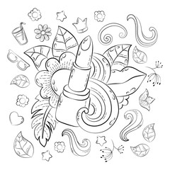 Make up Concept. Hand drawn cartoon doodle illustration. Beauty pattern. illustration for adult coloring book. Sketch for adult anti stress coloring book page with doodle and zentangle elements