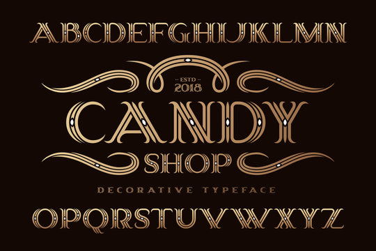 """Decorative classic typeface named """"Candy shop"""" with elegant ornate swashes"""