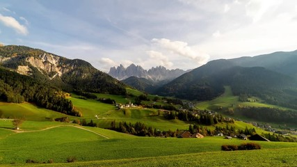 Wall Mural - Time lapse of Santa Maddalena village with majestic Dolomite mountains in background, Val di Funes valley, Trentino Alto Adige region, Italy, Europe.