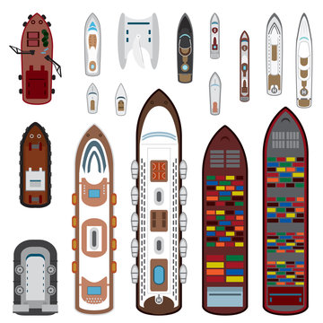 Ships top view set in color. Vector