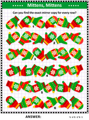 Winter, winter holidays, Christmas or New Year visual puzzle (suitable both for kids and adults): Match the pairs - find the exact mirror copy for every row of knitted mittens. Answer included.