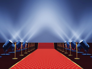 Movie premiere red carpet with stars  lit by spotlight, Award ceremony or festival event