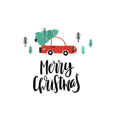 Christmas background with cartoon red car
