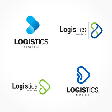 Logistics logo set arrows theme