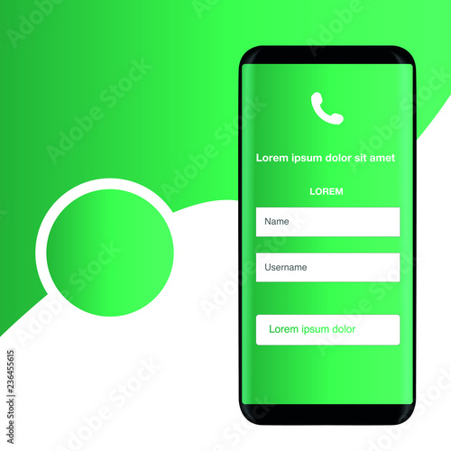 Smartphone on a green background, mobile application, vector