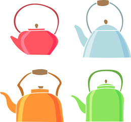 Set of teapot icon. Tea symbol. Flat Vector illustration.