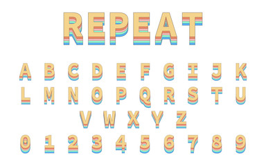 Colorful Repeat Font. Alphabet in colorful trending. Reto bold font
