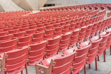 Foto op Aluminium Theater Rear view line of raised orchestra level seats from public outdoor performing art venue in Chicago, America