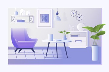 Interior of the living room. Design of a cozy room with chair,shelf,table,nightstand,lamp.Flat Vector Illustration