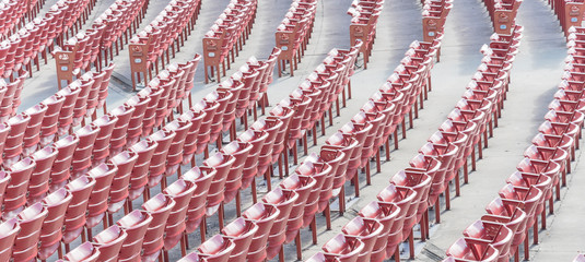 Foto op Aluminium Theater Panorama view line of raised orchestra level seats from public outdoor performing art venue in Chicago, America