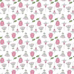 Seamless background pattern.Retro stylized flower pattern - illustrator.