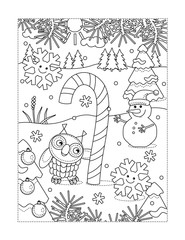 Winter holidays joy themed coloring page with big magic candy cane, owl, snowman, two cheerful snowflakes, outdoor scene