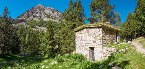 Stone hut in Pyrenees mountains