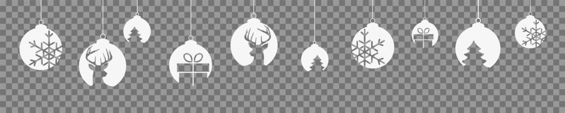 Weihnachten Banner Christbaumkugeln mit Elementen Transparenz Freigestellt